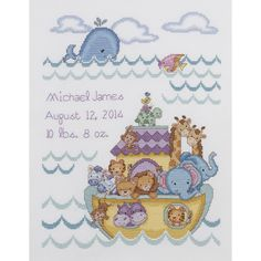 "Noah's Ark Birth Record Counted Cross Stitch Kit-10""X13"" 14 Count"