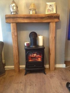 Fire Place Solid French Oak Beam Surround Mantle by CelticTimber Gas Fire Stove, Electric Stove Fireplace, Oak Beam Fireplace, Log Burner Fireplace, Inglenook Fireplace, Fake Fireplace, Farmhouse Fireplace, Fireplace Surrounds, Fireplace Mantels