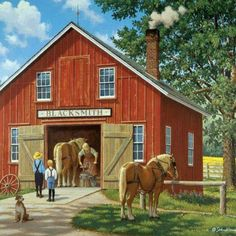 Country Kids (Page Country Art, Country Life, Country Living, Pretty Pictures, Art Pictures, Farm Art, Country Scenes, Thomas Kinkade, Old Farm