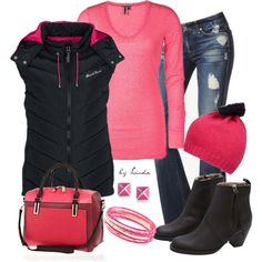 """Pink & Black Outfit"" by lindakol on Polyvore"