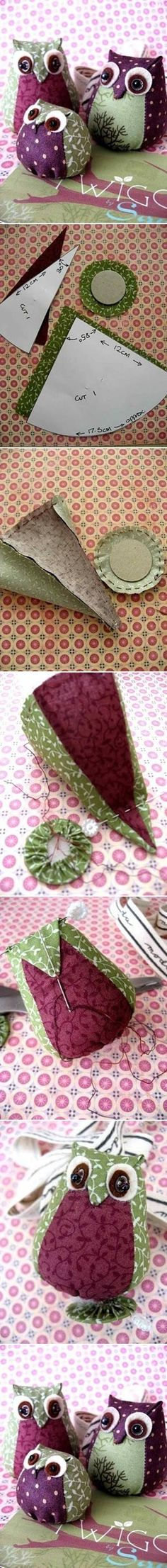 pincushion Sewing Project: DIY Easy Fabric Owl. Made one of these at Hartley.