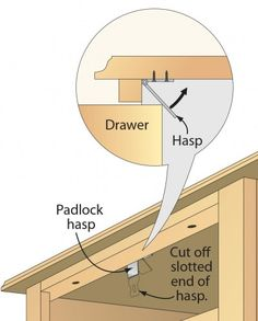 Drop-down drawer stop