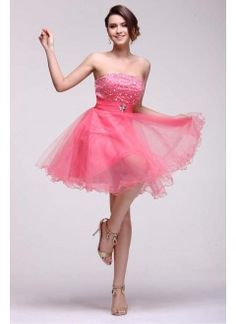 Tulle Strapless Short Watermelon Homecoming Dress