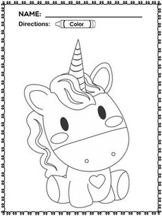 Cute Unicorn Eating Watermelon Coloring Pages