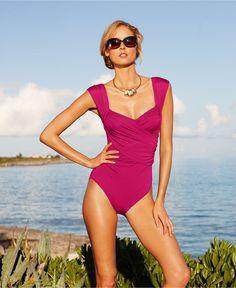 Badgley Mischka Swimsuit, Surplice Over The Shoulder Draped Front One Piece - Swimwear - Women - Macys