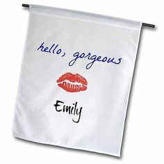 Hello Gorgeous Emily Picture of Lips Garden Flag 18x27in Outdoor Flag, New