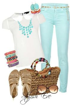 Sky blue jeans w/ beaded belt. White summer top w/ sky blue neclace, bracelets && earrings colorful, light brown sandals, small brown beach summer purse & sunglasses(: