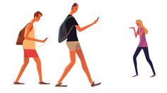 Study of people walking with their cellphones...