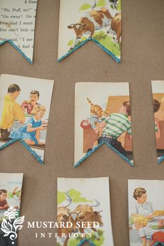 vintage children's book bunting | miss mustard seed