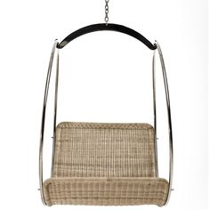 Adult outdoor swing seat, polished stainless steel & natural or synthetic wicker. Outdoor Swing Seat, Wicker Swing, Contemporary Bar Stools, Egg Designs, Swinging Chair, Steel Chain, African Design, Galvanized Steel, Stainless Steel