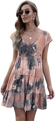 Amazon.com: Short Sleeve V Neck Tunic Ruffle Tie Dye Mini Boho Beach Dress T Shirt Shift Dresses for Women: Clothing