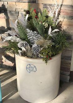 Winter porch arrangement with a vintage pot! Christmas Planters, Christmas Porch, Prim Christmas, Outdoor Christmas, Winter Christmas, Christmas Holidays, Christmas Arrangements, Christmas Centerpieces, Christmas Ideas