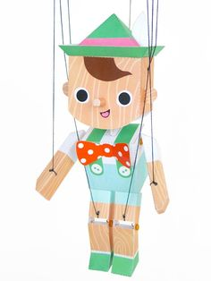 Pinocchio Marionette Puppet Printable Paper Craft PDF - Timothy Haugen hanging in a little boys room Art For Kids, Crafts For Kids, Arts And Crafts, Diy Crafts, Paper Puppets, Paper Toys, Pinocchio, Papier Diy, Marionette Puppet