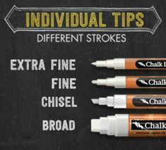 Chalk Ink Markers.  They are basically chalk in marker form.  Chalk Ink takes your chalk board to a whole other level.