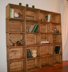 Rustic shelving unit made of reclaimed wood crates from Etsy. Crate Bookcase, Crate Shelves, Crate Storage, Bookshelves, Rustic Bookcase, Bookshelf Plans, Bookcase Storage, Wood Crates, Wood Pallets