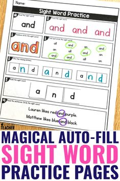 Say goodbye to searching for the exact sight word worksheets you need each week. These printable pages are completely editable so you make what you ne. Teaching Sight Words, Sight Words List, Sight Word Practice, Sight Word Worksheets, Sight Word Activities, Phonics Activities, Kindergarten Reading, Teaching Reading, Education And Literacy