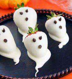 EAT MORE CAKE: Receita de morangos fantasmas! Chocolate Strawberry ghosts - Halloween