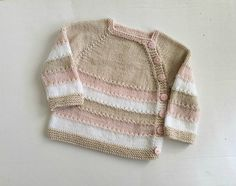 Baby girl side button sweater size 3 to 6 months hand knit | Etsy Baby Girl Sweaters, Baby Cardigan, Hand Knitting, Ready To Wear, Stripes, Beige, 6 Months, Pretty, Pink