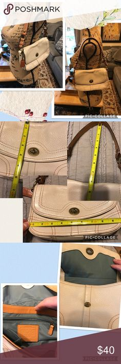 Coach mini handbag Some color transfer and light wear. Otherwise great shape! Heavier weight leather. Cream color Coach Bags Mini Bags