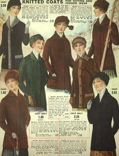 Knitted Coats for Outing & Indoor Wear ~ Eaton's 1916-1917 Fall & Winter…