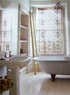 (I like both the painted white floor and the lace curtains) Pearl Lowe lace curtains and gorgeous bathroom Pearl Lowe, Bad Inspiration, Bathroom Inspiration, Ideas Baños, Sweet Home, Lace Curtains, Curtain Fabric, Linen Curtain, Curtain Panels