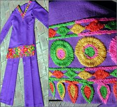 This is AWESOME! Vintage 60s Purple Pant Suit  Tunic Top & Bell by FashionPuss, $54.50