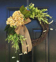 Summer wreath for door, porch wreaths, housewarming gift, front door wreath, summer decor