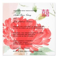 Double Happiness Asian Peony Floral Wedding Invite