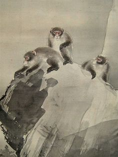 Japanese scroll painting, monkeys in snow, at www.Jcollector.com