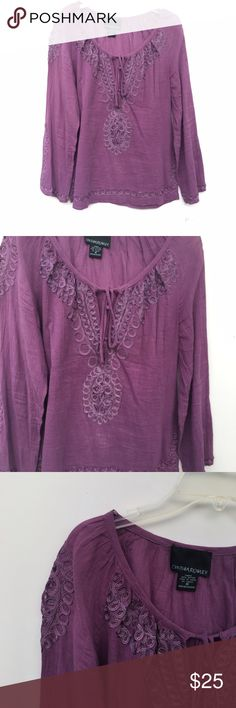 Long Sleeve Purple Designed Top Purple long sleeved top with lattice like designing throughout. Cutout on front with a tie. Cynthia Rowley Tops Tees - Long Sleeve