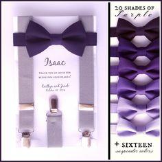 Purple Bow Tie and Suspenders: Grey Suspenders, Toddler Suspenders, Baby, Boys, Kids,Indigo, Grape, Royal, Cadbury, Ring Bearer Gift, by TheBoytiqueExpress on Etsy https://www.etsy.com/listing/217110761/purple-bow-tie-and-suspenders-grey