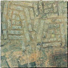 Induction 23-l 30x30cm Mixed Media/ paper making, painting, collage on panel 林孝彦 HAYASHI Takahiko 1995