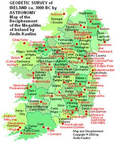 A map of Ireland's megalithic sites. Megaliths are very large stones used in prehistoric architecture.