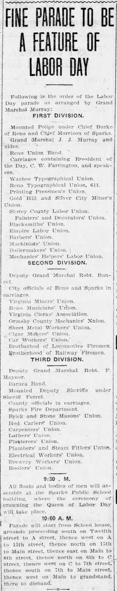 Reno Gazette-Journal, 26 Aug 1910, Fri, Main Edition  Robert Buncel , Deputy Grand Mashal in Labor Day parade