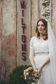 An Edwardian Gown for a Celestial Inspired Wedding at Wiltons Music Hall, London.  Celestial headpiece created by the bride herself (bead/jewellery maker, Clara Francis) | Love My Dress  http://www.rikpenningtonphotography.com/