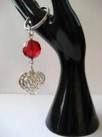 Faceted Red Bead and Heart Charm Key Chain/Purse Clip/Jean Clip $6.50