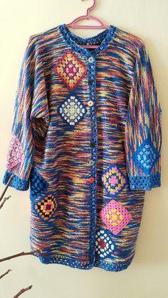 Baby Cardigan, Crochet Cardigan, Crochet Granny, Knitting, Blouse, Pattern, How To Make, Tops, Dresses