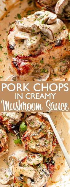 Skillet Pork Chops in Creamy Mushroom Sauce - Juicy, pan seared pork chops smothered with a rich and creamy mushroom sauce. An easy dinner idea and one of my favorite pork chop recipes. pork chop recipe Skillet Pork Chops Recipe in Creamy Mushroom Sauce Smothered Pork Chops Recipe, Skillet Pork Chops, Seared Pork Chops, Sauce For Pork Chops, Chopped Steak Recipes, Easy Pork Chop Recipes, Recipes With Pork Steaks, Pork Recipes, Easy Pork Tenderloin Recipes