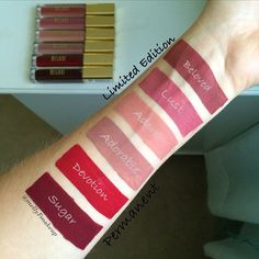 Milani Amore Matte Lip Cremes in Beloved, Lust, Adore, Adorable, Devotion, and Sugar. Follow my instagram @mellyfmakeup for more!