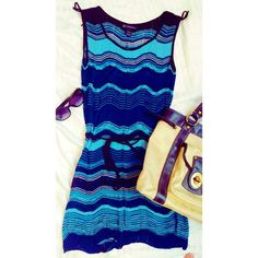 Blue Knit Tunic Perfect swimsuit coverup! This knit, belted tunic dress has a pretty blue chevron pattern and is fairly sheer. It is in like new condition with the exception of one small snag. INC International Concepts Swim Coverups
