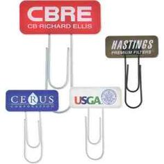 """This giant, oversized color surge paper clip features a brightly colored tab on the top that can be used to draw attention to just about anything. Perfect for keeping track of files, documents, and other important pieces of information. An excellent handout at trade shows and conventions. May be customized with your company name and logo or purchased without imprint. Measures 3 1/8"""" x 4 1/4"""" in size with a generous 1"""" x 2 1/2"""" imprint area."""