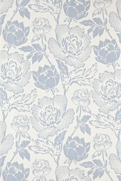 """PEONY:Peony is a classic english floral pattern drawn from 19th century pure silk woven jacquards. Based on the ornamental Peony flower, this sumptuous and curvaceous design brings contemporary glamour to a traditional and romantic floral print. Full roll width is 53cm/21"""", roll length is 10m/11yds, pattern repeat is 62.8cm/24 3/4"""". Available in nine colourways."""