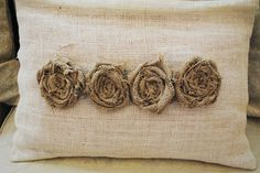 burlap pillow with fabric flowers or roses