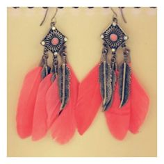 Retro Feather Earring (€11) ❤ liked on Polyvore