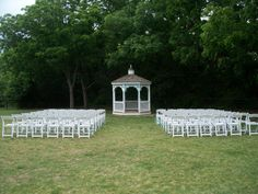 Many of our clients select our gazebo as the location for their wedding ceremony.  They love the beautiful trees in the background. This is just one of the many locations on our property that are perfect for weddings.   http://1899farmhouse.com/