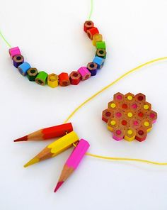 Colored pencil jewelry set from CRAFT #DIY #necklace