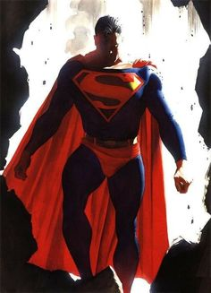 Alex Ross, who paints his comic book characters, started depicting Superman in He also made the emblem quite big and the man quite bulky. Comic Book Artists, Comic Book Characters, Comic Book Heroes, Comic Character, Comic Books Art, Artwork Superman, Logo Superman, Superman Stuff, Superman Photos