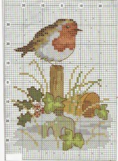 Ricami, lavori e centinaia di schemi a punto croce di tutti i tipi, gratis: Puntocroce- uccellini d'inverno