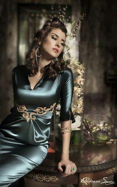 Sweet Strapless Slinky Satin Green Silk Elegant Sleepwear Beautiful Girl