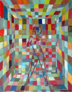 """"""" Chica cubista """", acrylic on canvas, 35 x 43 cm. 2012, painting by Diego Manuel"""